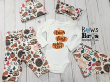 Load image into Gallery viewer, Custom Name First Turkey Day Gender Neutral Thanksgiving Outfit- 1,2,3,4 or 5 Piece Set - Bows and Bros Boutique LLC
