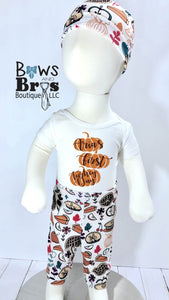 Custom Name First Turkey Day Unisex First Thanksgiving Outfit