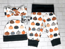 Load image into Gallery viewer, Custom Name's First Halloween Gender Neutral Fall Halloween Baby Outfit- 1,2,3 or 4 Piece Set - Bows and Bros Boutique LLC