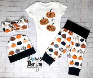 Custom Name's First Halloween Gender Neutral Fall Halloween Baby Outfit- 1,2,3 or 4 Piece Set - Bows and Bros Boutique LLC