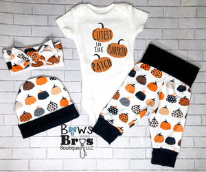 Cutest Pumpkin In The Patch Gender Neutral Fall Halloween Baby Outfit- 1,2,3 or 4 Piece Set - Bows and Bros Boutique LLC