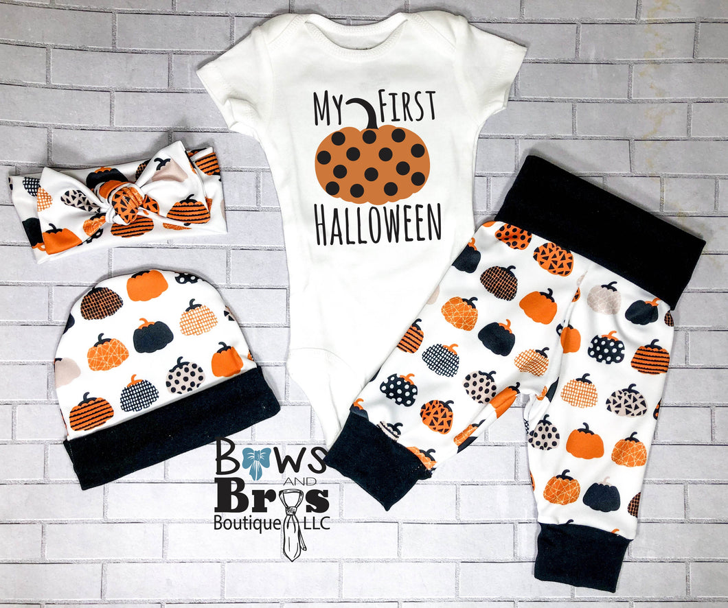 My First Halloween Gender Neutral Fall Halloween Baby Outfit- 1,2,3 or 4 Piece Set - Bows and Bros Boutique LLC