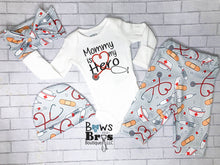Load image into Gallery viewer, Mommy is My Hero Gender Neutral Nurse Baby Coming Home Outfit- 1,2,3 or 4 Piece Set - Bows and Bros Boutique LLC