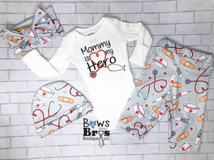 Mommy is My Hero Gender Neutral Nurse Baby Coming Home Outfit- 1,2,3 or 4 Piece Set - Bows and Bros Boutique LLC