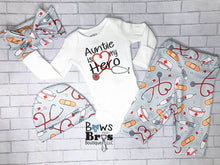 Load image into Gallery viewer, Auntie is My Hero Nurse Gender Neutral Coming Home Outfit- 1,2,3 or 4 Piece Set - Bows and Bros Boutique LLC