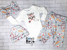 Load image into Gallery viewer, Thanks Mom Nurse Unisex Baby Outfit Set - Bows and Bros Boutique LLC