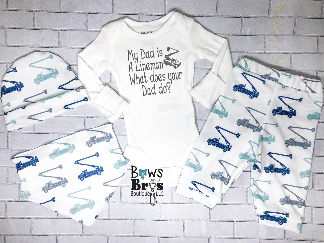My Dad is a Lineman What Does Your Dad Do? Baby Boy Outfit Set Lineman Truck Outfit- 1,2,3 or 4 Piece Set - Bows and Bros Boutique LLC