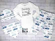 Load image into Gallery viewer, Daddy Is My Hero Baby Boy Lineman Coming Home Outfit- 1,2,3 or 4 Piece Set - Bows and Bros Boutique LLC