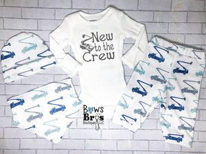 New To The Crew Lineman Truck Baby Boy Outfit Set