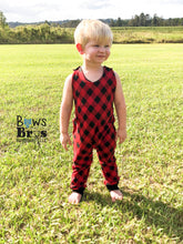 "Load image into Gallery viewer, Buffalo Plaid Baby and Toddler Boys Romper ""The Jade Romper"""