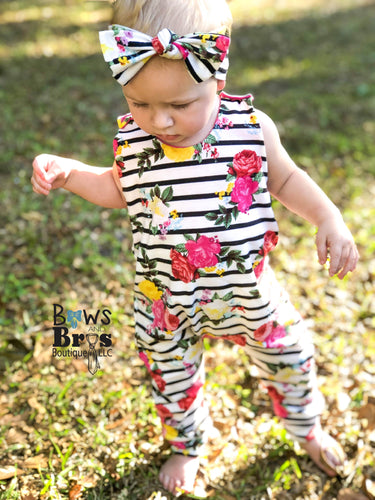 Striped Floral Girls Romper and Bow Two Piece Set
