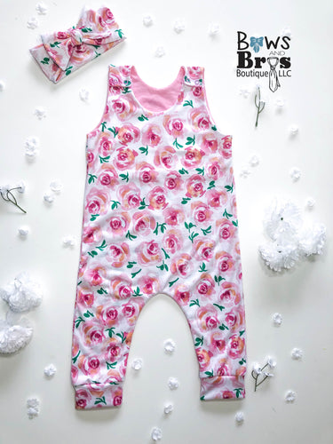 Pink Rose Floral Girls Romper and Bow Two Piece Set