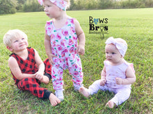 "Load image into Gallery viewer, Pink Rose Floral Girls Romper and Bow Two Piece Set ""The Jade Romper"" - Bows and Bros Boutique LLC"