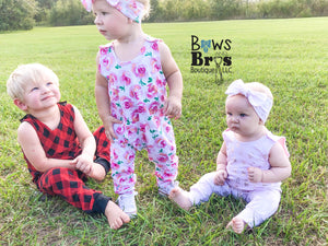 "Pink Rose Floral Girls Romper and Bow Two Piece Set ""The Jade Romper"" - Bows and Bros Boutique LLC"