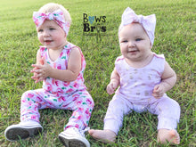 "Load image into Gallery viewer, Light Pink Metallic Gold Pineapple Girls Romper and Bow Two Piece Set ""The Jade Romper"""