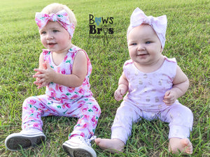 "Light Pink Metallic Gold Pineapple Girls Romper and Bow Two Piece Set ""The Jade Romper"" - Bows and Bros Boutique LLC"