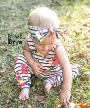 "Load image into Gallery viewer, Striped Floral Girls Romper and Bow Two Piece Set ""The Jade Romper"""