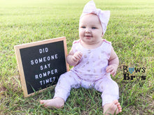 "Load image into Gallery viewer, Light Pink Metallic Gold Pineapple Girls Romper and Bow Two Piece Set ""The Jade Romper"" - Bows and Bros Boutique LLC"