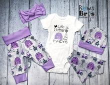 Load image into Gallery viewer, Life is Better On The Farm Purple Baby Girl Farm Coming Home Outfit- 1,2,3,4 or 5 Piece Set - Bows and Bros Boutique LLC