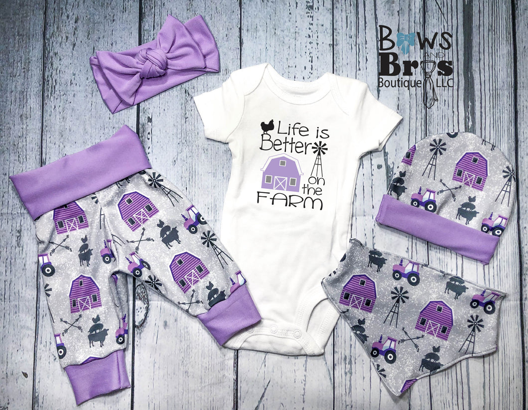 Life is Better On The Farm Purple Baby Girl Farm Coming Home Outfit- 1,2,3,4 or 5 Piece Set - Bows and Bros Boutique LLC