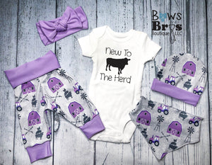 New to The Herd Purple Girls 5 Piece Farm Outfit Set