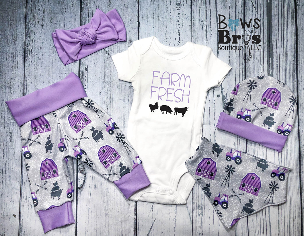 Farm Fresh Purple Baby Girl Farm Coming Home Outfit- 1,2,3,4 or 5 Piece Set - Bows and Bros Boutique LLC