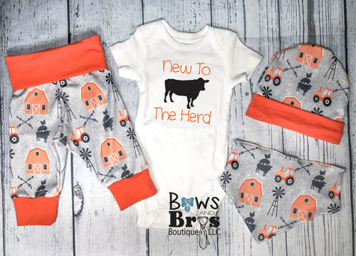 New to The Herd Baby Boy Orange Farm Outfit Set