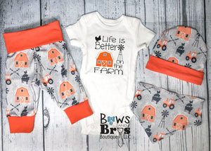 Life is Better On The Farm Baby Boy Orange Farm Coming Home Outfit- 1,2,3 or 4 Piece Set - Bows and Bros Boutique LLC