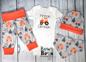 Home Grown Baby Boy Orange Farm Outfit Set