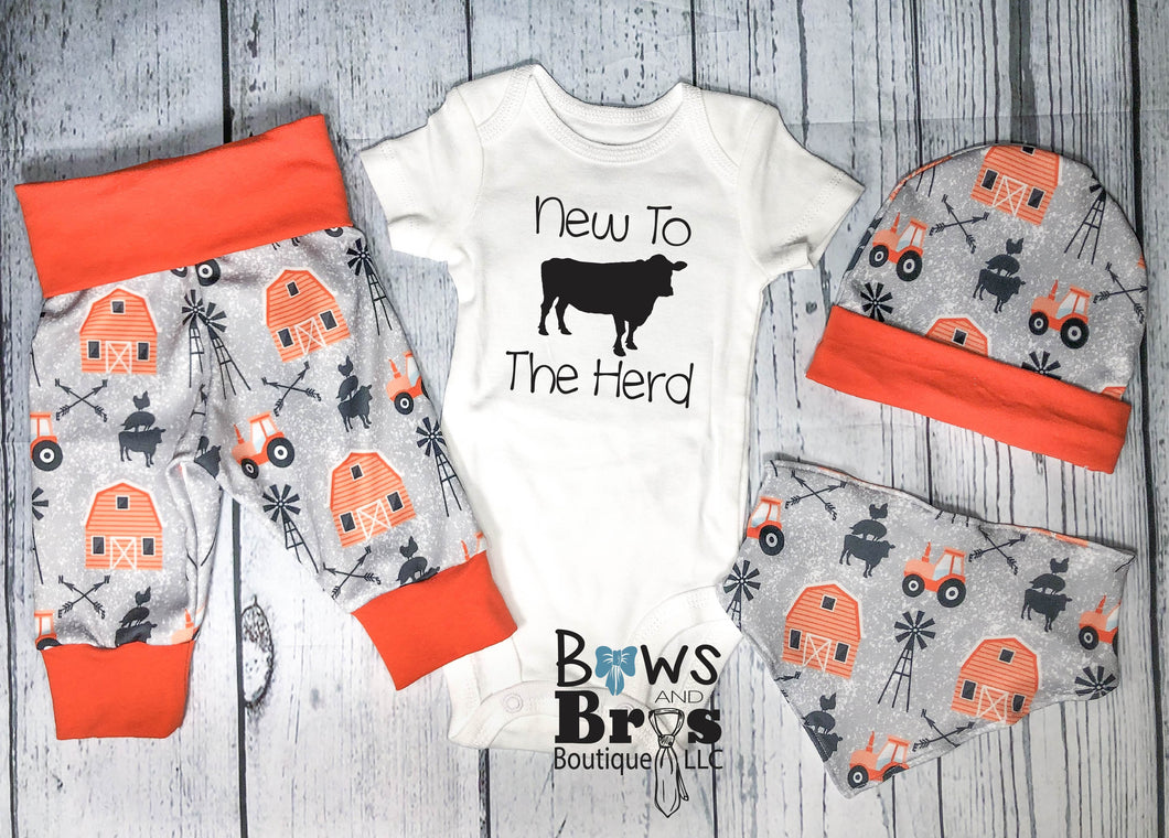 New to The Herd Baby Boy Orange Farm Coming Home Outfit- 1,2,3 or 4 Piece Set - Bows and Bros Boutique LLC