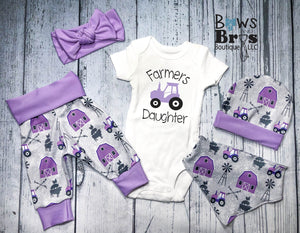 Farmers Daughter Purple Baby Girl Farm Coming Home Outfit- 1,2,3,4 or 5 Piece Set - Bows and Bros Boutique LLC
