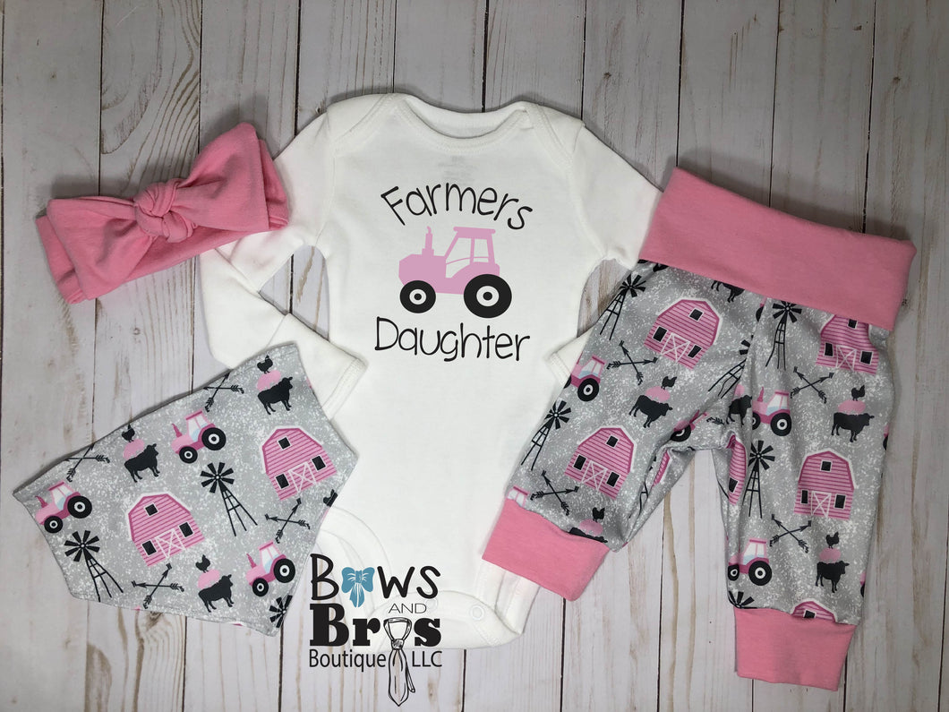 Farmers Daughter Baby Girl Pink Farm Coming Home Outfit- 1,2,3 or 4 Piece Set - Bows and Bros Boutique LLC