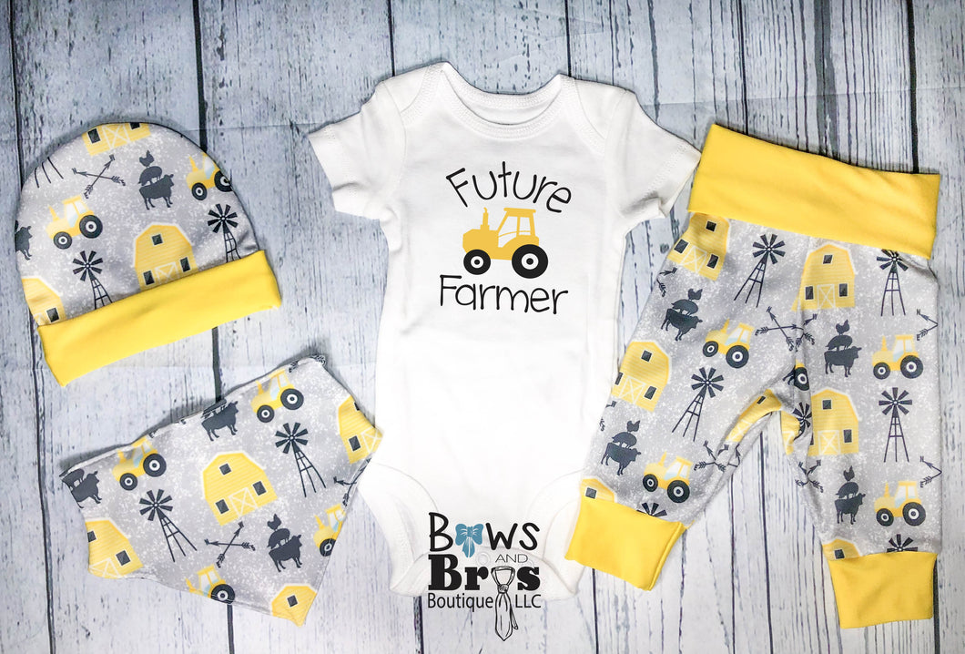 Future Farmer Baby Boy Yellow Farm Coming Home Outfit- 1,2,3 or 4 Piece Set - Bows and Bros Boutique LLC