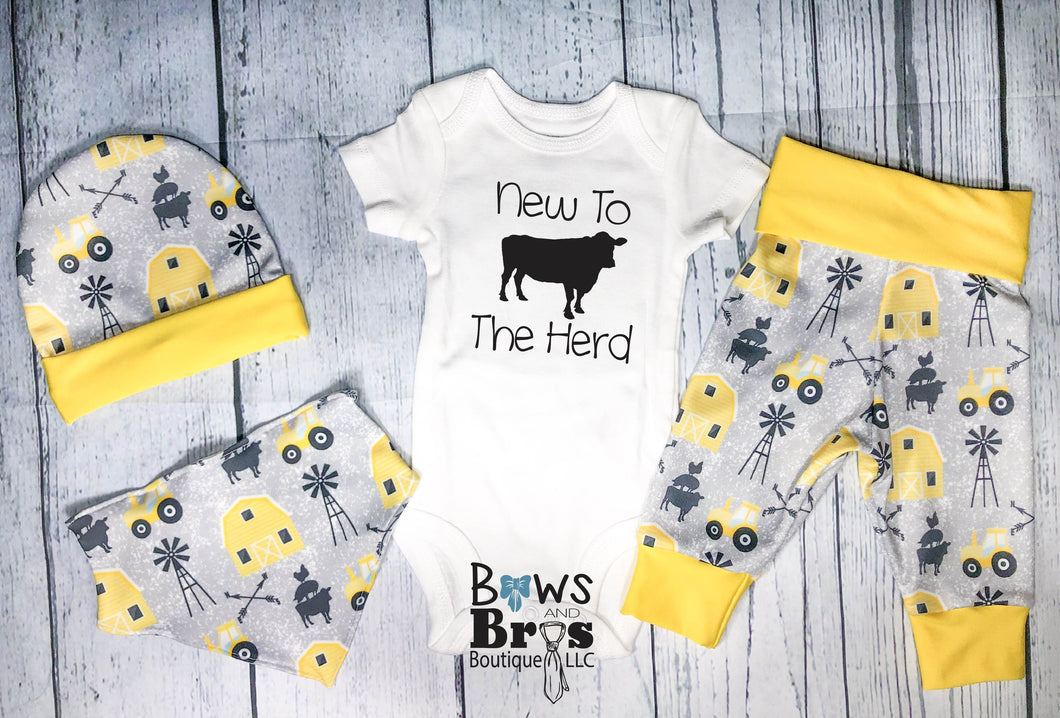 New to The Herd Baby Boy Yellow Farm Coming Home Outfit- 1,2,3 or 4 Piece Set - Bows and Bros Boutique LLC
