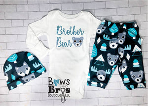 Brother Bear Boys Teal Bear Moose Fox Coming Home Outfit- 1, 2 or 3 Piece Set - Bows and Bros Boutique LLC