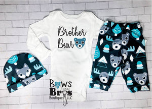 Brother Bear Boys Teal Bear Moose Fox Coming Home Outfit - 1, 2 or 3 Piece Set - Bows and Bros Boutique LLC
