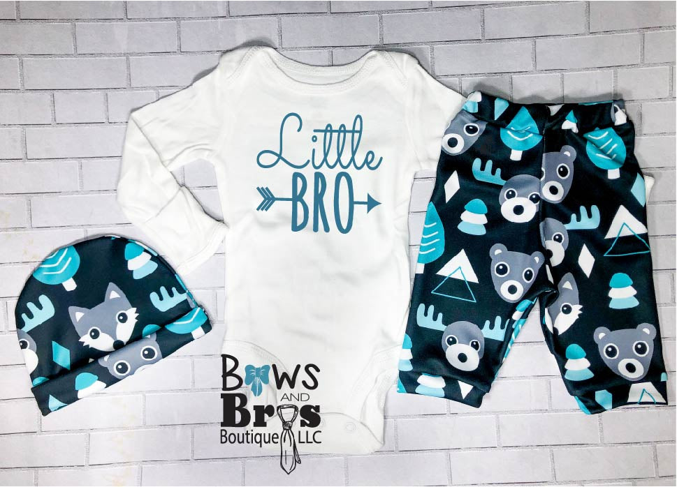Little Bro Boys Teal Bear Moose Fox Coming Home Outfit- 1, 2 or 3 Piece Set - Bows and Bros Boutique LLC