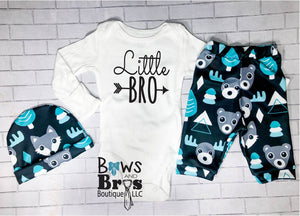 Little Bro Boys Teal Bear Moose Fox Coming Home Outfit - 1, 2 or 3 Piece Set - Bows and Bros Boutique LLC
