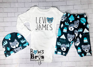 Custom Name Boys Teal Bear Moose Fox Coming Home Outfit- 1, 2 or 3 Piece Set - Bows and Bros Boutique LLC