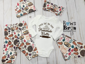 Homemade Rolls Thanksgiving Gender Neutral Baby Outfit- 1,2,3,4 or 5 Piece Set - Bows and Bros Boutique LLC