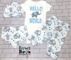 Hello World Blue Elephants Baby Boy Coming Home Outfit - 1,2,3 or 4 Piece Set - Bows and Bros Boutique LLC