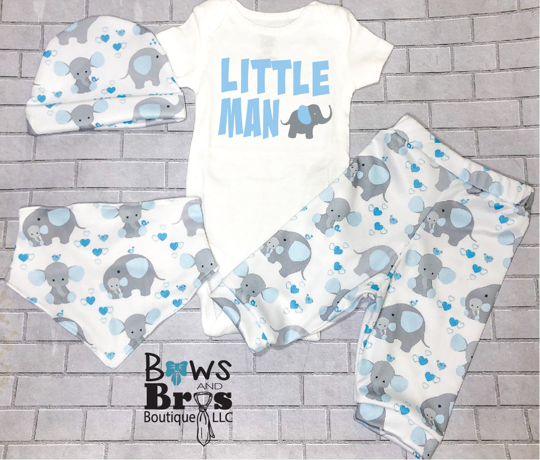 Little Man Blue Elephants Baby Boy Coming Home Outfit - 1,2,3 or 4 Piece Set - Bows and Bros Boutique LLC
