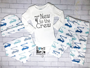 New To The Crew Lineman Truck Baby Boy Outfit - 1,2,3 or 4 Piece Set - Bows and Bros Boutique LLC