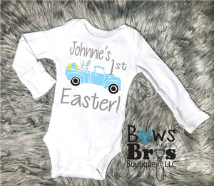 Custom Name's 1st Easter Bodysuit For Baby Boy Easter Coming Home Outfit - Bows and Bros Boutique LLC