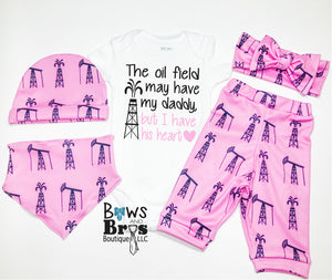 Oil Field I Have My Daddy's Heart Pink Baby Girl Coming Home Outfit- 1,2,3,4 or 5 Piece Set - Bows and Bros Boutique LLC