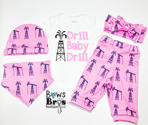 Drill Baby Drill Oil Field Pink Baby Girl Coming Home Outfit- 1,2,3,4 or 5 Piece Set - Bows and Bros Boutique LLC