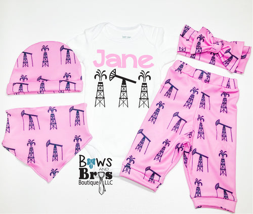 Custom Name Oil Field Pink Baby Girl Coming Home Outfit- 1,2,3,4 or 5 Piece Set