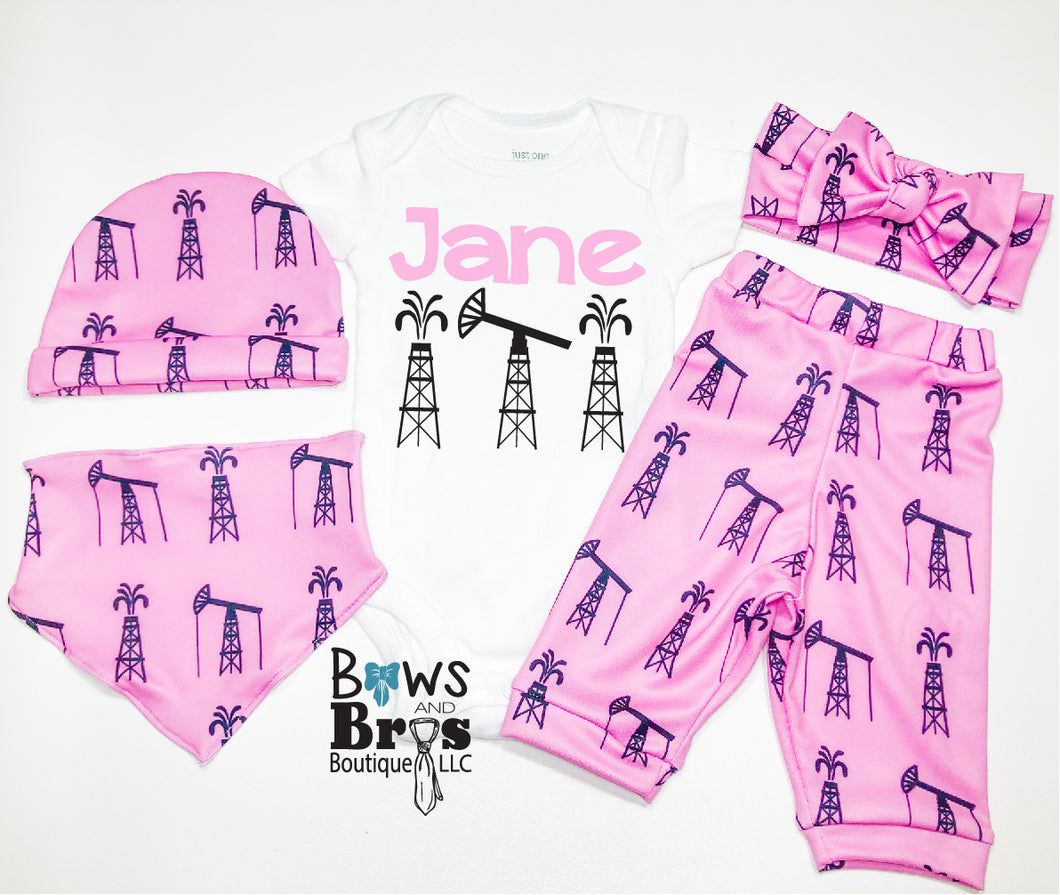 Custom Name Oil Field Pink Baby Girl Coming Home Outfit- 1,2,3,4 or 5 Piece Set - Bows and Bros Boutique LLC