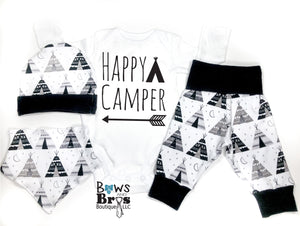 Happy Camper Tee Pee Camping Baby Boy Coming Home Outfit - 1,2,3 or 4 Piece Set - Bows and Bros Boutique LLC