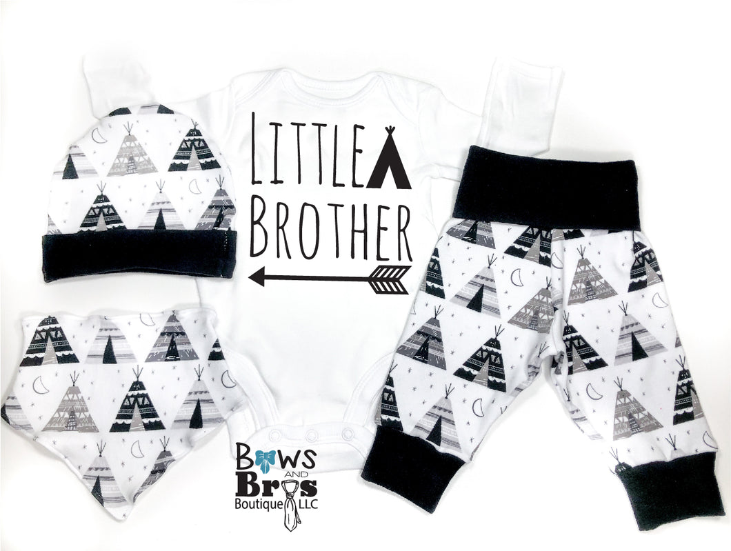 Little Brother Tee Pee Arrow Camping Baby Boy Coming Home Outfit - 1,2,3 or 4 Piece Set - Bows and Bros Boutique LLC